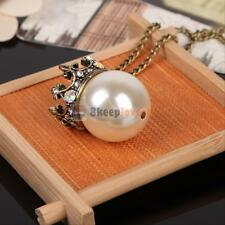 TOP!! Pearl Pendant Long Chain Necklace Womens Fashion Vintage Rhinestone Crown