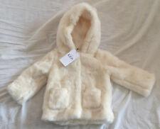 M&S Girls Cream Faux Fur Long Sleeve Hooded Coat Age 1.5-2 BNWT