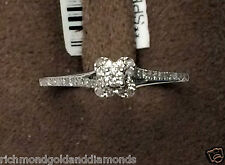 10k White Gold Flower Halo Antique Round Diamonds Engagement Skinny Promise Ring