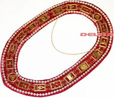 Masonic Regalia ROYAL ARCH RHINESTONE Metal Chain Collar RED DMR-300GRRS