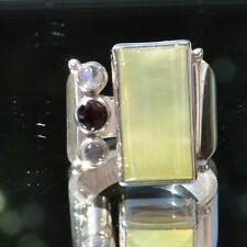 Prehnit Ring, 925er Silber, Edelsteinring (20741), mit Granat, mit Mondstein