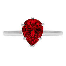 Bridal Promise Classic Ring 14k White Gold 1 Pear Cut Natural Red Garnet Wedding