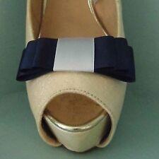 2 Navy & Bianco Triplo Fiocco Clip Per Scarpe-altri colori su richiesta