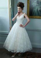 New V-neck White/Ivory Lace Tea Length Bridesmaid Wedding Dress stock Size 6-16