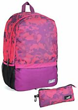 PUMA PURPLE & PINK BACKPACK + PENCIL CASE SET - WOMENS GIRLS RUCKSACK SCHOOL BAG