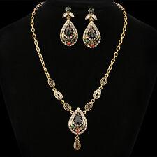 INDIAN JAIPURI JEWELRY TURKISH ANTIQUE FINISH GOLD PLATED GEMS NECKLACE EARRING
