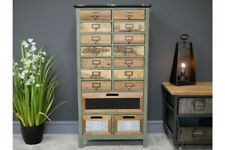Tall Fir Wood Multi Drawer Cabinet Vintage Look / Rustic Storage / Office