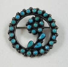 Point Turquoise Pin/Brooch W/ Flower Vintage Zuni Sterling Silver Petit