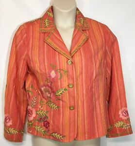 Cold Water Creek Womens Blazer Jacket PL Petite Large Embroidered New