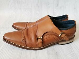 MENS GENTS GOODWIN SMITH TAN LEATHER MONK STRAP BUCKLE FORMAL SMART SHOES UK 10