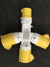 110V 16A 3 Way Y Splitter Socket Adaptor IP44 Extension Lead 110 Volt 16 Amp