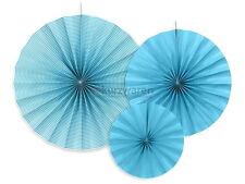 3 X blau Papierrosetten Papierrosette Papier Hochzeit Garten Feier Raumdeko