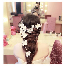 Bride Wedding Crystal Bead Flower Hair Clip Party Prom Pearl Hair Comb Headpiece