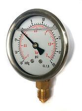 Manómetro Glicerina Llenado compuesto de presión 63mm -1/+2 Bar & - 30*Hg/+30 Psi