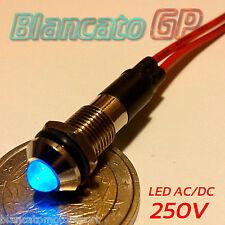 """SPIA LED BLU 220V AC METALLO """"TONDO"""" 8mm corrente alternata casa illuminazione"""