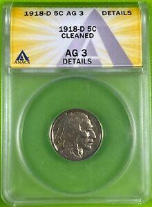1918 D 5c Buffalo Nickel ANACS AG3 Details (342)