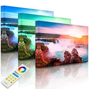 Beleuchtetes Bild LED Leuchtbild - Idyllische Wasserfälle bei Sonnenuntergang