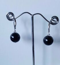Round Black Onyx Earrings 925 sterling silver lever backs 12 mm