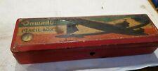 Vintage ONWARD Pencil Box Plane Douglas  Balsa Wood with lock. Compass  Japan