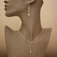 Ivory cream pearl silver pendant necklace earrings wedding bridal jewellery set