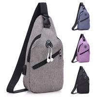 Mens Sling Bag Chest Pack Crossbody Casual Work Gym Shoulder Bags + USB Charging