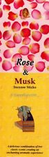 """Rose & Musk"" 25 Square Packets 200 Incense Sticks Kamini Brand One Carton"