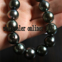 "NEW 18"" 8-9MM TAHITIAN NATURAL BLACK PEARL NECKLACE PERFECT AAA+"