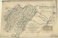 1862 WV MAP Wheeling Bridgeport Logan Moundsville Welch West Virginia History XL