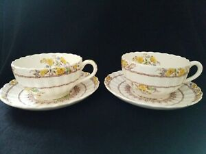 SET of 2 Copeland Spode Buttercup Cup and Saucer Sets CHATEAU LAlANDE