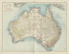 Australia showing goldfields coral reefs railways. THE TIMES 1900 map
