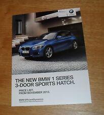 BMW 1 Series 3 puerta Folleto de guía de precios 2012 M135i M Sport 125d 120d 118d 116d
