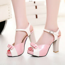 Women's Platform Sandals Ankle Strap Patent Leather Bow Chunky Heel Shoes US 6