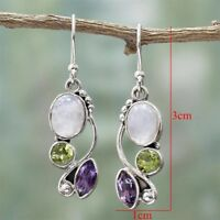 POP! Women Natural Rainbow Moonstone Amethyst Dangle Hook Earrings Wedding