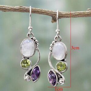 WOW!  Women Natural Rainbow Moonstone Amethyst Dangle Hook Earrings Wedding