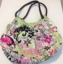 Womens Dakine Floral Handbag Green And Pink Medium Beach Bag Purse