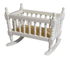 White Rocking Cradle, Dolls House Miniature Nursery Furniture