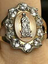 14k SOLID REAL GOLD manmade stimulate diamond Mary Guadalupe ring 8 6 7 9 10