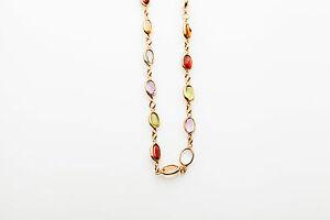 "$3400 14k Gold 20ct Amethyst Peridot Aquamarine Garnet Citrine 18"" Necklace 8g"