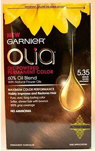 Garnier Olia Oil Powered Permanent Hair Color, 5.35 Medium Golden Mahogany