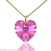 Genuine 9ct Gold Heart Pendant Charm Necklace Jewellery Set & Swarovski Crystal
