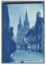 N.D., France, Bayeux, La Rue des Chanoines  vintage print cyanotype  7x10