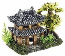 Pagoda & Plants Aquarium Ornament Oriental House Fish Tank Cave Decoration 3066