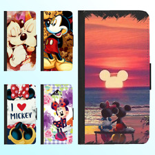 Galaxy S9 S8 Plus S7 Note 8 Leather Flip Wallet Case Disney Mickey Minnie Cover