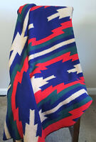 "Vtg Biederlack Aurora Throw Blanket Southwestern Native Tribal Aztec 55""X47"""