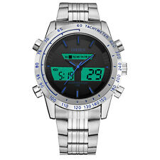 Ohsen Military Silver Steel Case Men Water Proof Blue Digital Quartz Wrist Watch