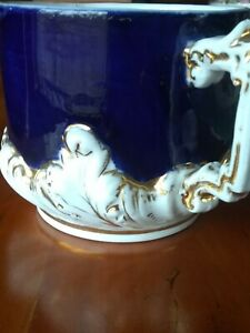 """Antique Shaving Mug Blue White Gold 3"""" Tall Great Condition Made In Germany #110"""