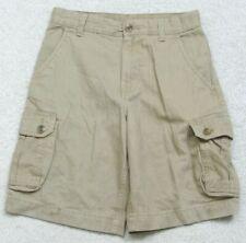 "Faded Glory Beige Cotton Flat Front Cargo Dress Shorts Twelve 12 26"" x 9.5"" M25"
