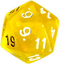 10 Stück Gelb-Transparente Würfel 20Seitig (1-20) D20/W20/ Dice/ Knobeln/Spiele