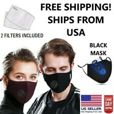 BLACK FACE MASK - REUSABLE & WASHABLE - 2 FILTERS INCLUDED *SHIPS USA SAME DAY*