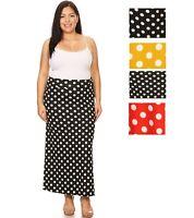 Womens Polka Dot Banded Waist Long Form Fitting Maxi Skirt  XL 2XL 3XL